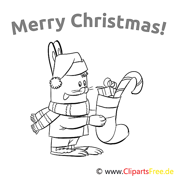 Kaninchen Weihnachtsstrumpf Merry Christmas Colourings, Ausmalbilder