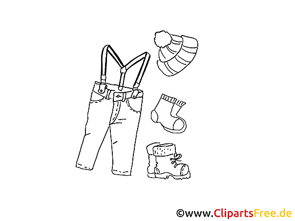 Kleidung für Männer Winter Ausmalbild