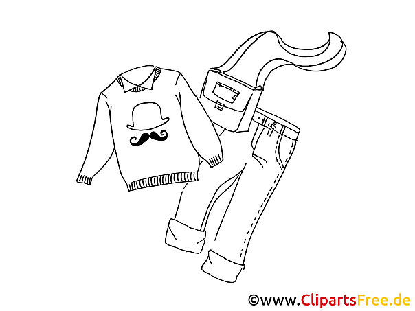 Mode Herrenkleidung kostenloses Ausmalbild