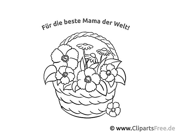 Blumenkorb für Mama Ausmalvorlage, Malvorlage, Malbild gratis