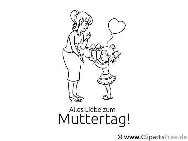 Glückwunschkarte zum Muttertag - Bild zum Ausmalen gratis