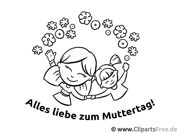 Gratulation zum Muttertag Ausmalvorlage, Malvorlage, Malbild gratis