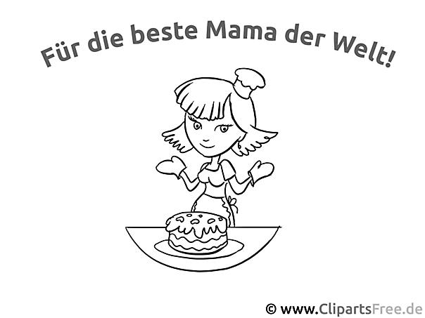 Karte für Mama Ausmalvorlage, Malvorlage, Malbild gratis
