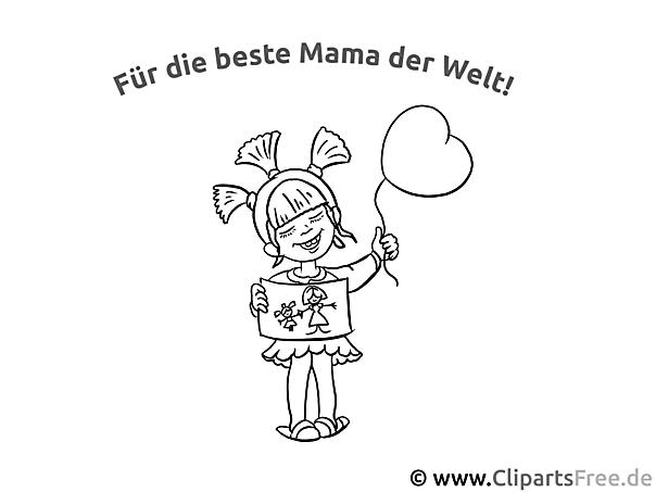 Mädchen Grusskarte zum Muttertag - Bild zum Ausmalen gratis