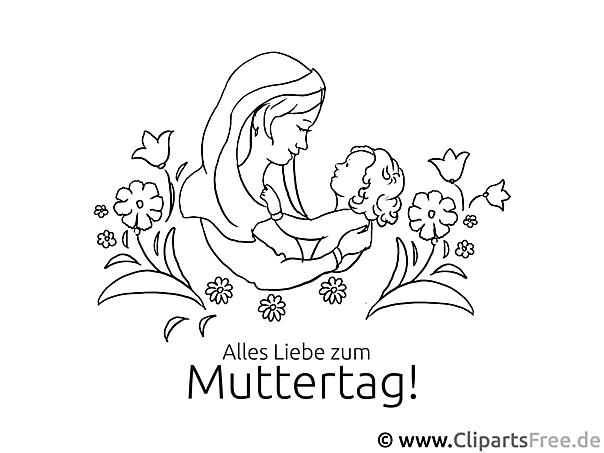 Mutter und Kind - Bild zum Ausmalen gratis