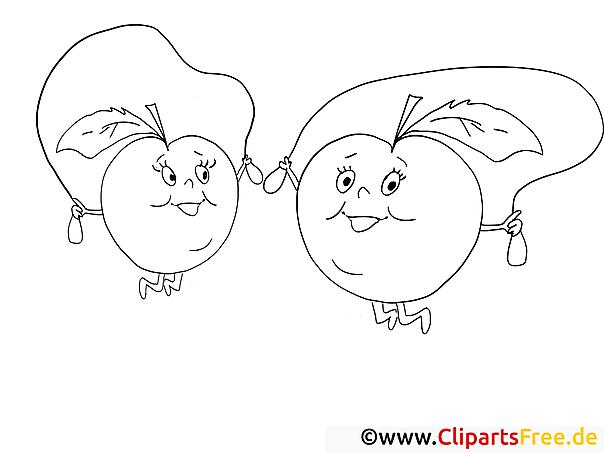 Äpfel springen mit Springseil Ausmalbild für Kinder kostenlos ausdrucken