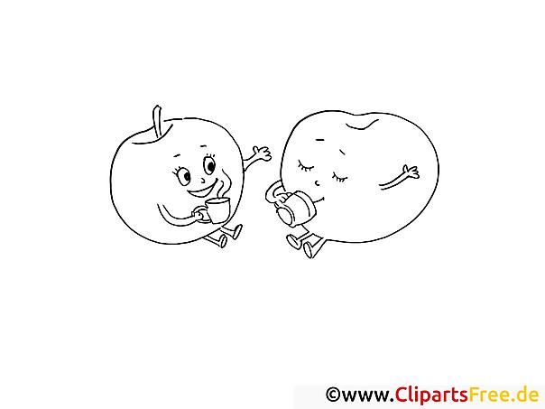Äpfel trinken Kaffee Ausmalbilder für Kinder gratis