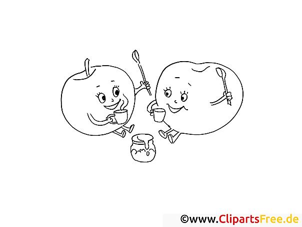 Äpfel trinken Tee Ausmalbilder für Kinder gratis