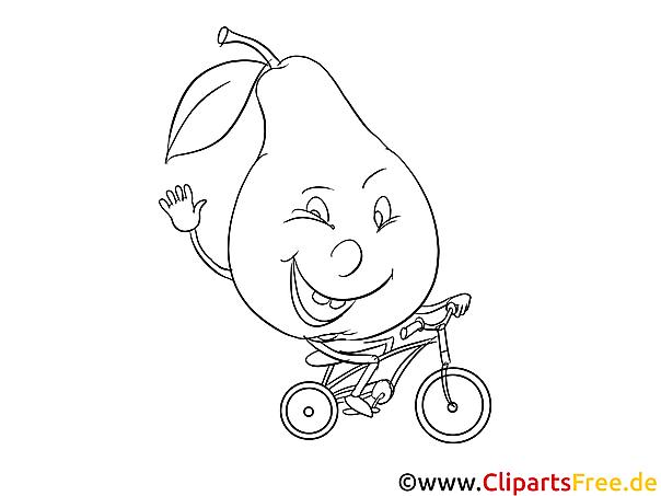 Birne auf Fahrrad Bild zum Malen und Drucken
