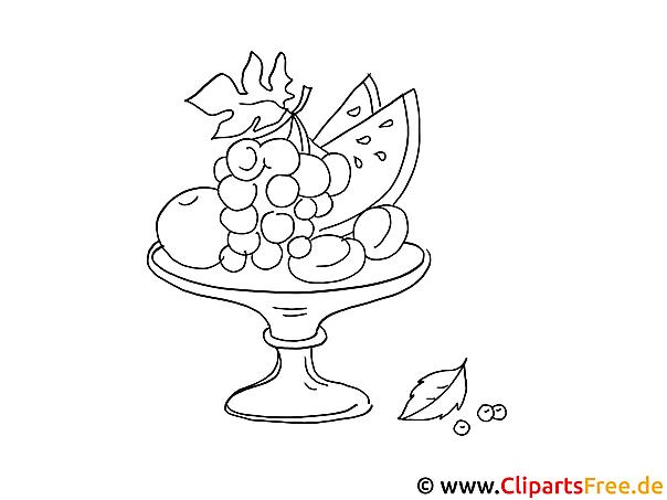 Obst ist gesund Ausmalbild für Kinder kostenlos ausdrucken