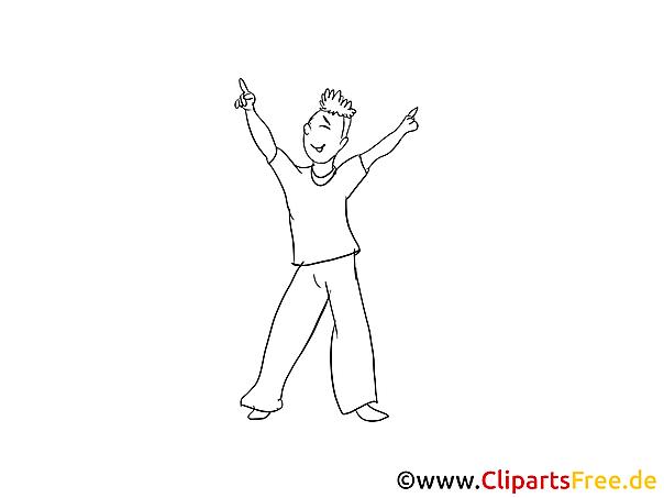 Junger Mann am Tanzen gratis Bilder zum Ausmalen