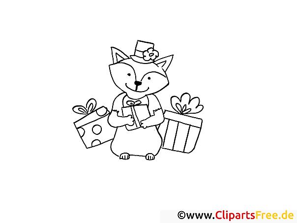 Tier mit Geschenken Malvorlagen und kostenlose Ausmalbilder