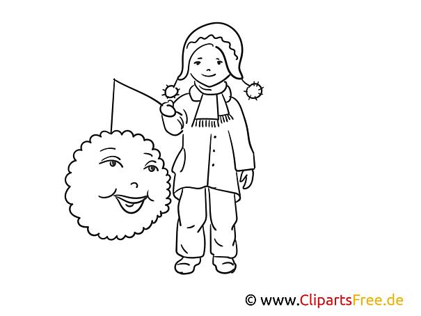 ausmalbild laternenkinder  cartoonbild