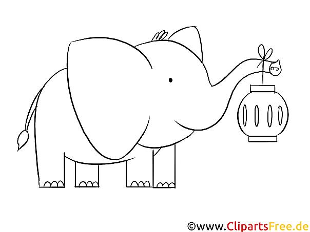 Elefant mit Laterne Ausmalbild zum Runterladen und Drucken