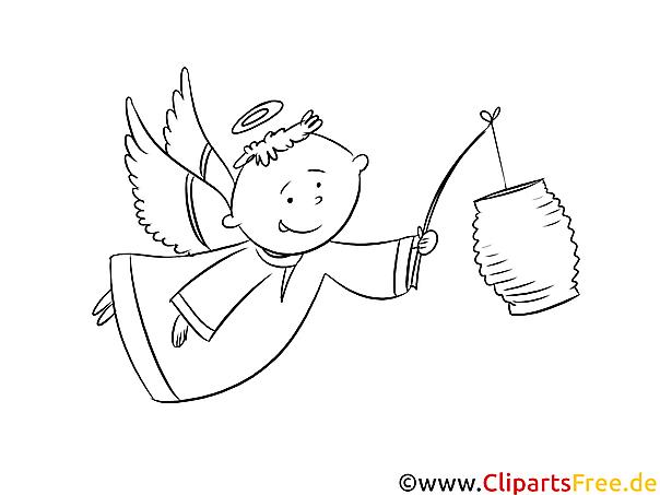 Engel mit Laterne Ausmalbild zum Runterladen und Drucken