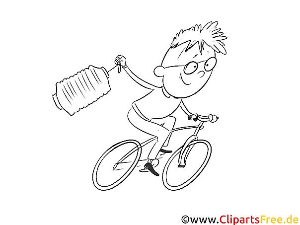 Kind am Fahrrad Ausmalbild zum Runterladen und Drucken