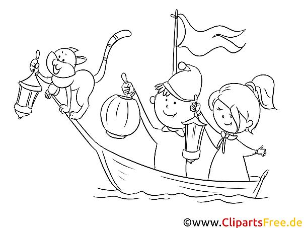 Kinder im Boot Ausmalbild zum Runterladen und Drucken