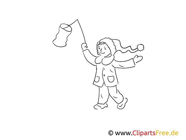 Mädchen mit Laterne Bild schwarz-weiß, Illustration, Grafik zum Ausmalen