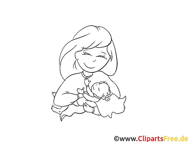 Glückliche Mutter Taufe Ausmalbild