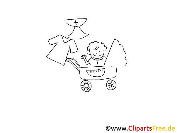 Kinderwagen Taufe Ausmalbild