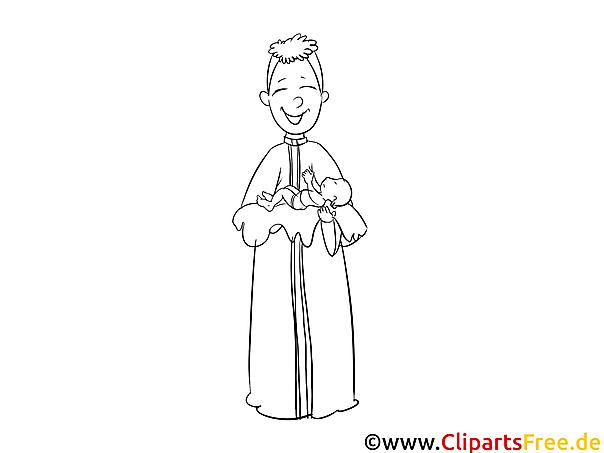 Priester Taufe Ausmalbild für Kinder kostenlos ausdrucken