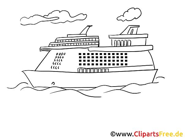 Fahrgastschiffn Meer kostenloses Ausmalbild