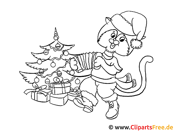 Ausmalbild zum Ausdrucken Katze am Weihnachtsbaum