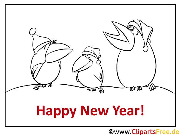 Krähen Mütze Happy New Year Coloring, Malvorlage