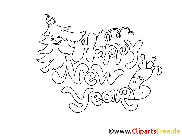 Neujahr Bilder zum Drucken und Malen