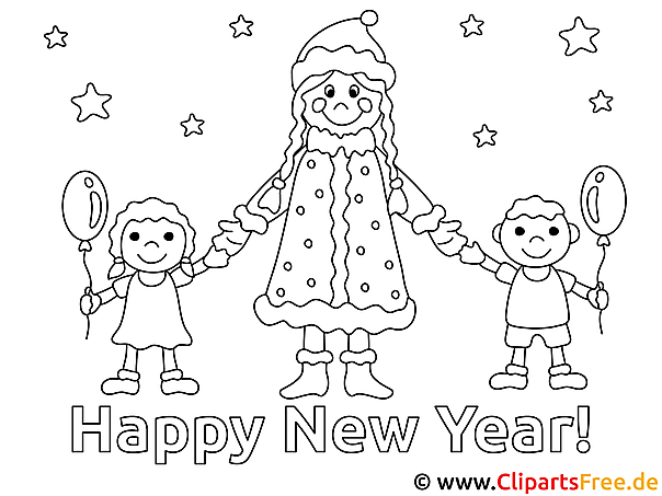 new year coloring page. Black Bedroom Furniture Sets. Home Design Ideas
