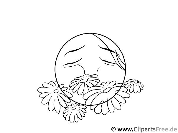 Smilie und Blumen Malvorlage