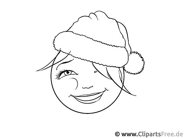 Weihnachten Smiley  Ausmalvorlage zum Drucken