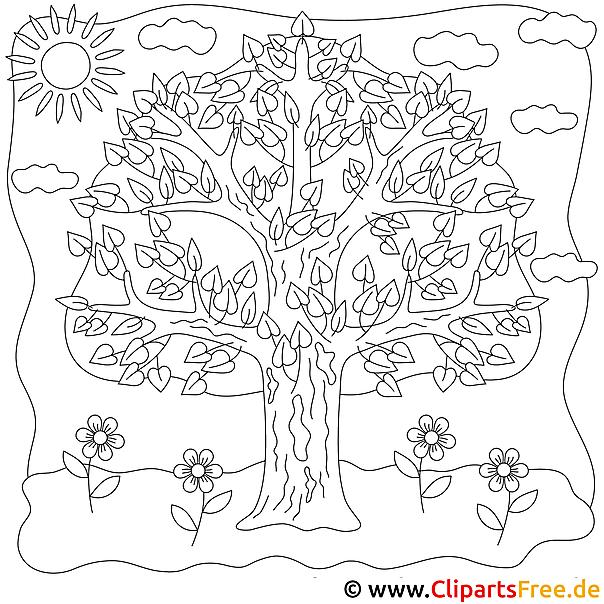 Ausmalbild Baum