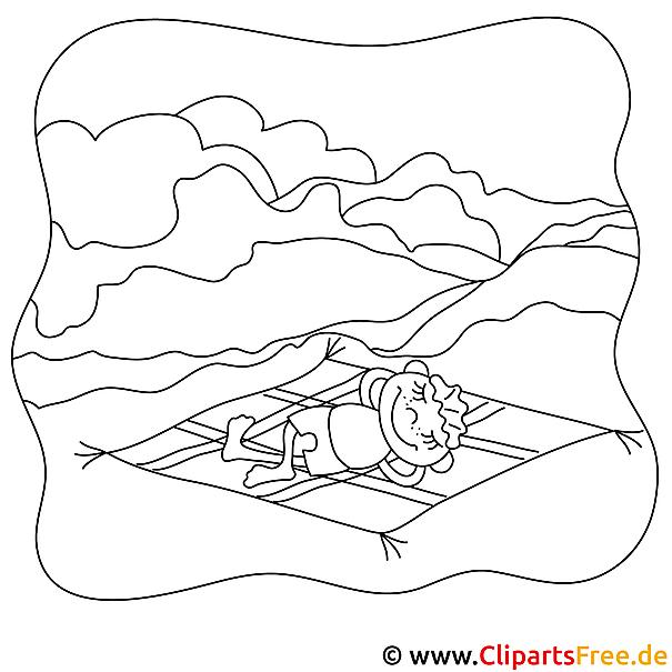 Ausmalbild Kind aud der Wiese - Urlaub auf dem Lande