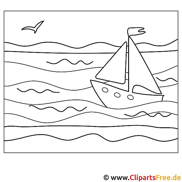 Ausmalbild Schiff