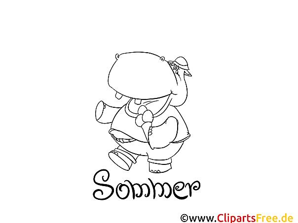 Nilpferd Sommer Ausmalbilder für Kinder gratis