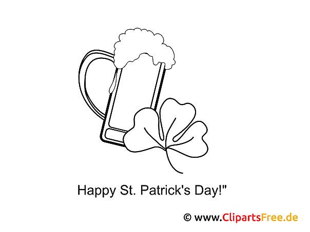 Bierglas St. Patrick\'s Day gratis Ausmalbild
