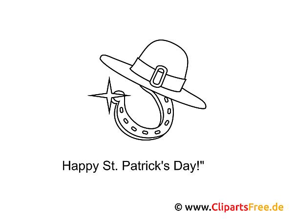 Hut Hufeisen St. Patrick's Day Malvorlage gratis