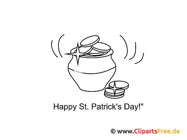 Topf mit Münzen St. Patrick's Day Ausmalbilder