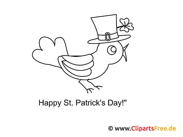 Vogel St. Patrick's Day Ausmalbild