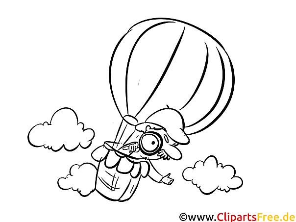 Ballon Detektiv Malvorlagen Berufe für Schule und Kindergarten)