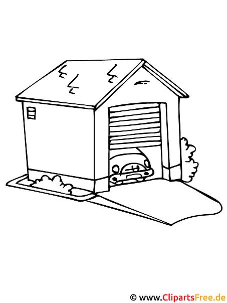 Malvorlage kostenlos Garage