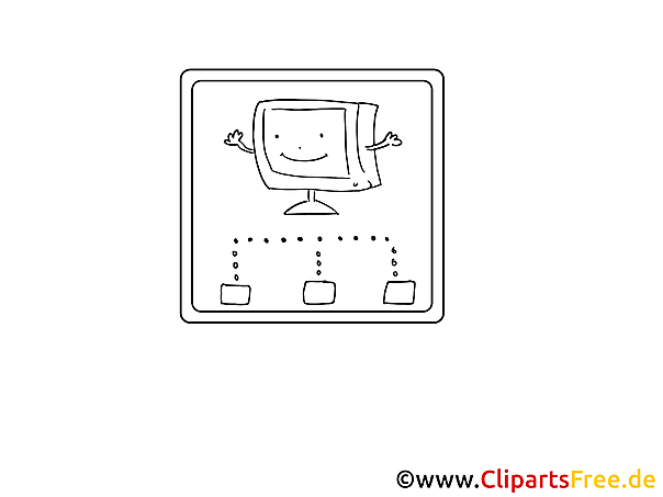 PC Netzwerk Malvorlage, Bild, Grafik zum Ausmalen