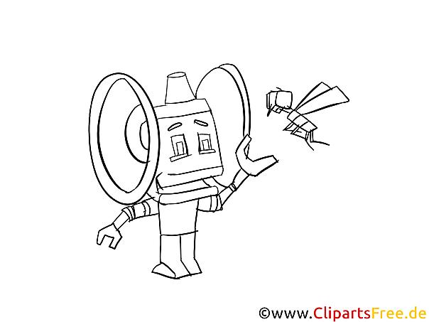 Roboter Ausmalvorlage kostenlos