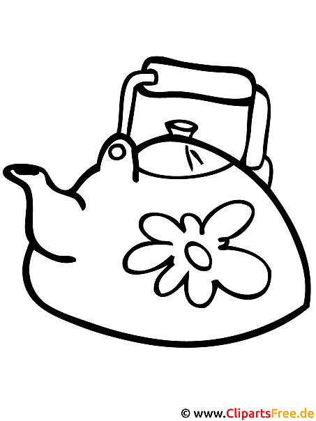 Teekanne Ausmalbild gratis