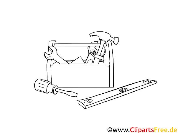 Werkzeuge Handwerker Malvorlage, Bild, Grafik zum Ausmalen