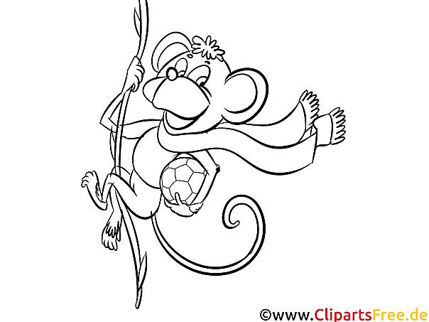Affe Bild zum Ausdrucken und Ausmalen