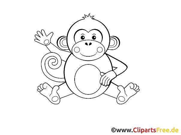 Affe einfache Malvorlage für kleine Kinder