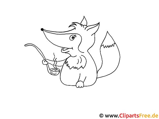 Ausmalbild gratis Fuchs mit Löffel