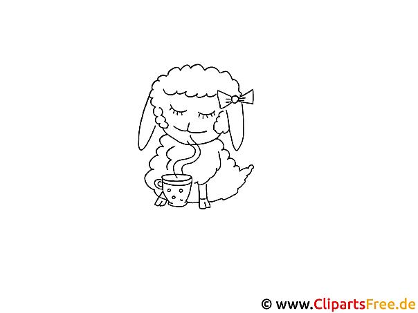 Ausmalbild zum Ausmalen Schaf
